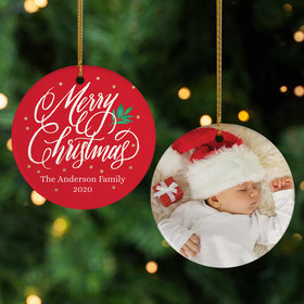 Personalized 'Merry Christmas' Family Photo Christmas Ornament