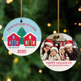 Personalized 'From Our Home to Yours' Christmas Photo Christmas Ornament