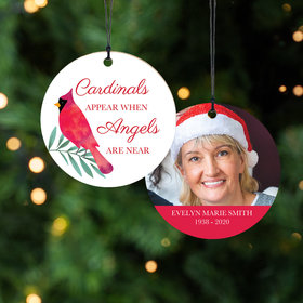 Personalized Cardinals Appear Memorial Christmas Ornament
