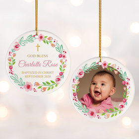 Personalized Baptism Photo Christmas Ornament