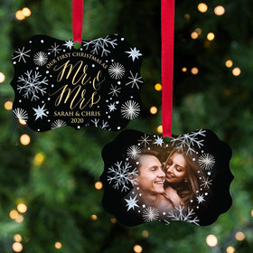 Personalized First Christmas Wedding Christmas Ornament