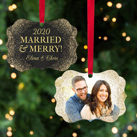 Personalized Married & Merry Christmas Ornament