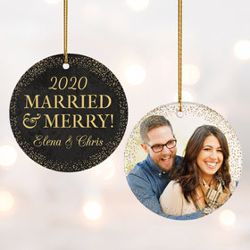 Personalized 'Merried & Merry' Wedding Photo Christmas Ornament
