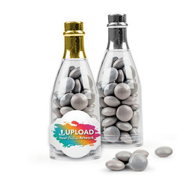 Personalized Business Add Your Logo Favor Assembled Champagne Bottle with Just Candy Milk Chocolate Minis