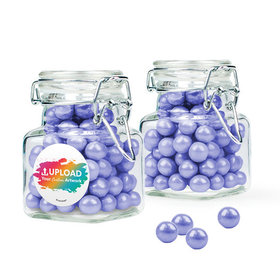 Personalized Business Add Your Logo Favor Assembled Swing Top Square Jar with Sixlets