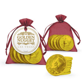 Personalized Business Add Your Logo Favor Assembled Organza Bag, Gift tag with Milk Chocolate Coins