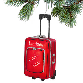 Personalized Red Suitcase Christmas Ornament