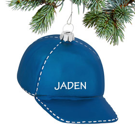 Personalized Baseball Cap (Blue) Christmas Ornament