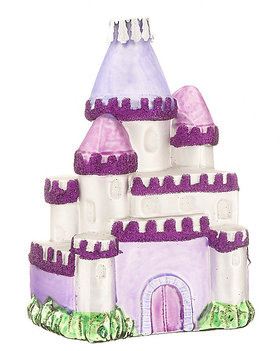 Personalized Purple Castle Christmas Ornament