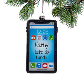 Personalized Glass Smart Phone Christmas Ornament