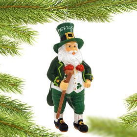 Personalized Irish Santa with Walking Stick Christmas Ornament