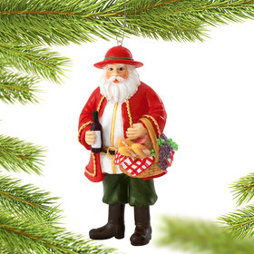 Personalized Italian Santa with Wine and Bread Basket Christmas Ornament
