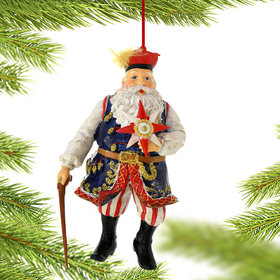 Polish Santa with Cane and Star Christmas Ornament