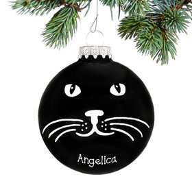 Personalized Black Cat Face Christmas Ornament