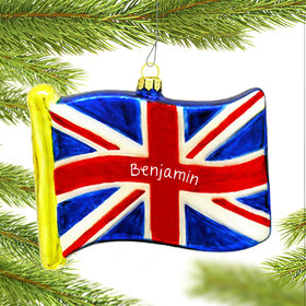 Personalized Flag of Great Britain Christmas Ornament