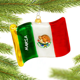 Personalized Flag of Mexico Christmas Ornament