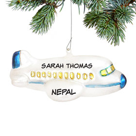 Personalized White Airplane with Blue Trim Christmas Ornament