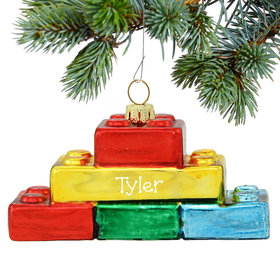 Personalized Building Blocks Christmas Ornament