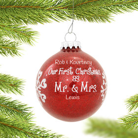 Personalized Our First Christmas as Mr. & Mrs. Red Glitter Glass Ball Christmas Ornament