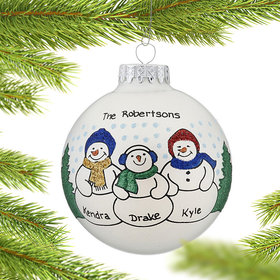 Personalized Snowman Family of 3 in the Woods Christmas Ornament