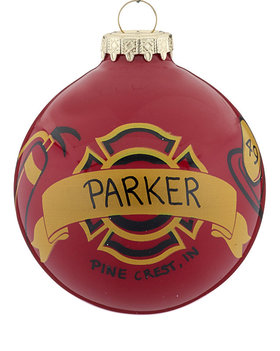Personalized Firefighter with Banner Christmas Ornament