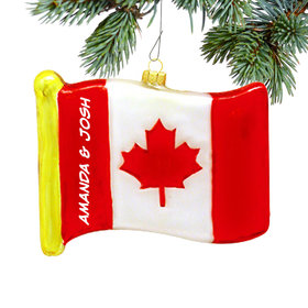 Personalized Flag of Canada Christmas Ornament