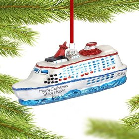 Personalized Cruise Ship on the Water Christmas Ornament