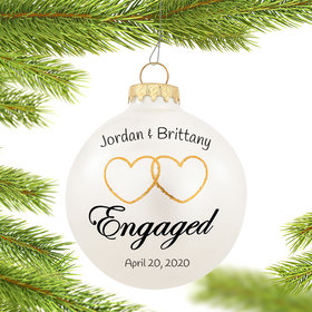 Personalized Two Hearts Engaged Christmas Ornament