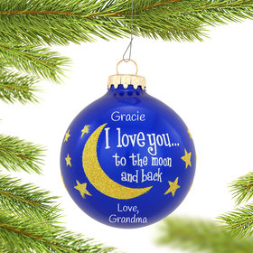 Personalized I Love You To The Moon And Back Gold Glitter Christmas Ornament