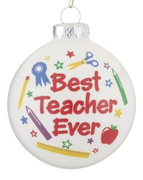 Personalized Best Teacher Ever Award Christmas Ornament