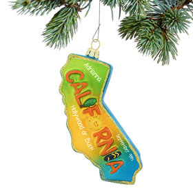 Personalized California State Shape Christmas Ornament