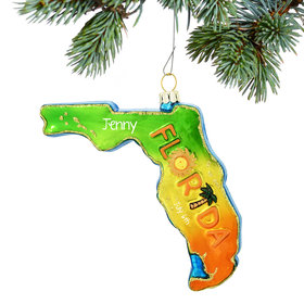 Personalized Florida State Shape Christmas Ornament