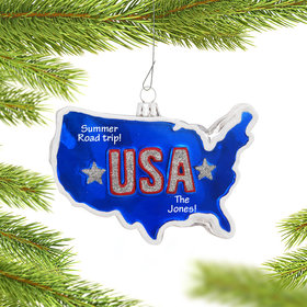 Personalized United States of America Country Shape Christmas Ornament