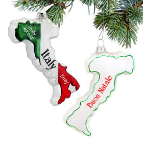 Personalized Italy Country Shape Christmas Ornament