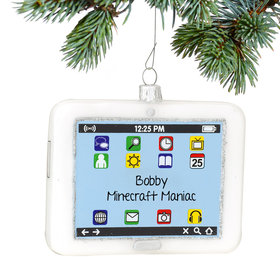 Personalized White iPad Tablet Computer Christmas Ornament