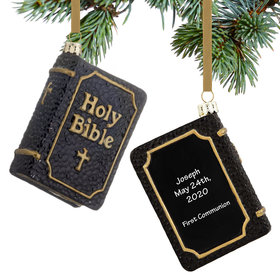 Personalized Black Holy Bible Christmas Ornament