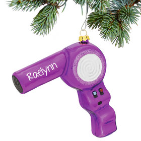 Personalized Purple Hair Dryer Christmas Ornament