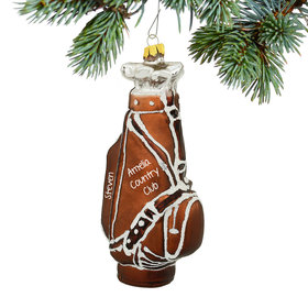 Personalized Brown Golf Bag Christmas Ornament