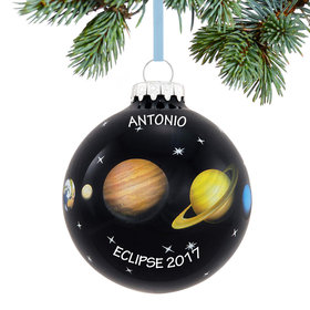Personalized Solar Eclipse Sun and Planets in Space Christmas Ornament