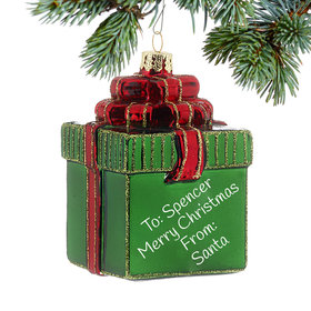 Personalized Green Package Christmas Ornament