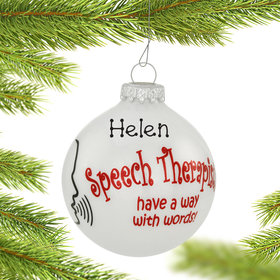 Personalized Speech Therapist Christmas Ornament