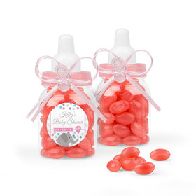 Personalized Baby Shower Favor Assembled Light Pink Baby Bottle with Just Candy Jelly Beans