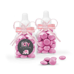 Personalized Baby Shower Favor Assembled Light Pink Baby Bottle with Just Candy Milk Chocolate Minis