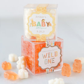 Personalized Baby Shower JUST CANDY® favor cube with Gummy Bears