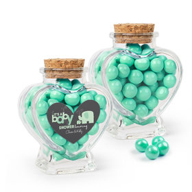 Personalized Baby Shower Favor Assembled Heart Jar with Sixlets