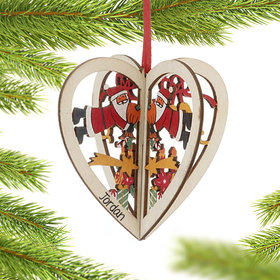 Personalized Santa Wood Heart Christmas Ornament
