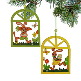 Easter Rabbit Windows (Set of 2) Christmas Ornament