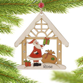 Personalized Santa in Wood House Christmas Ornament