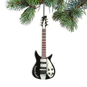 Personalized Black Electric Guitar Christmas Ornament