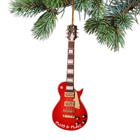 Personalized Redwood Electric Guitar Christmas Ornament